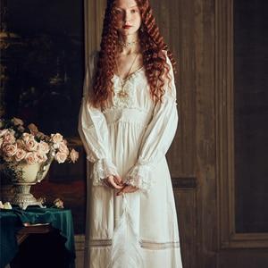 Image 2 - Bayan gecelik Retro zarif gecelikler Vintage kadınlar dantel beyaz pijama elbise pamuk uzun kollu gecelik Gentlewoman