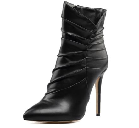 Spring and autumn black fold high heel pointed toe ankle boots for woman Ladies thin heel zipper short boots Fashion boots silver and gold short boots women sandals hollow out back zipper open toe high heel stilettos plus size fold ankle boots
