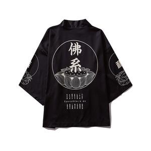 Image 1 - ثوب الكيمونو الياباني الرجال سترة قميص بلوزة يوكاتا الرجال haori obi الملابس الساموراي الملابس الذكور كيمونو سترة
