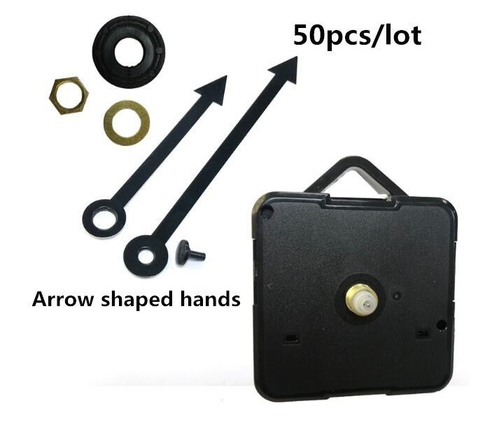 50pcs High-quality modern DIY Quartz Wall Clock Mechanism Parts Replacement Repair Arrow shaped Hands Tools Set with hook