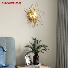 Modern LED Wall Lamps Gold Star Bedside Light For Living room Kids Bedroom Corridor lampara pared Sconce Home Decor
