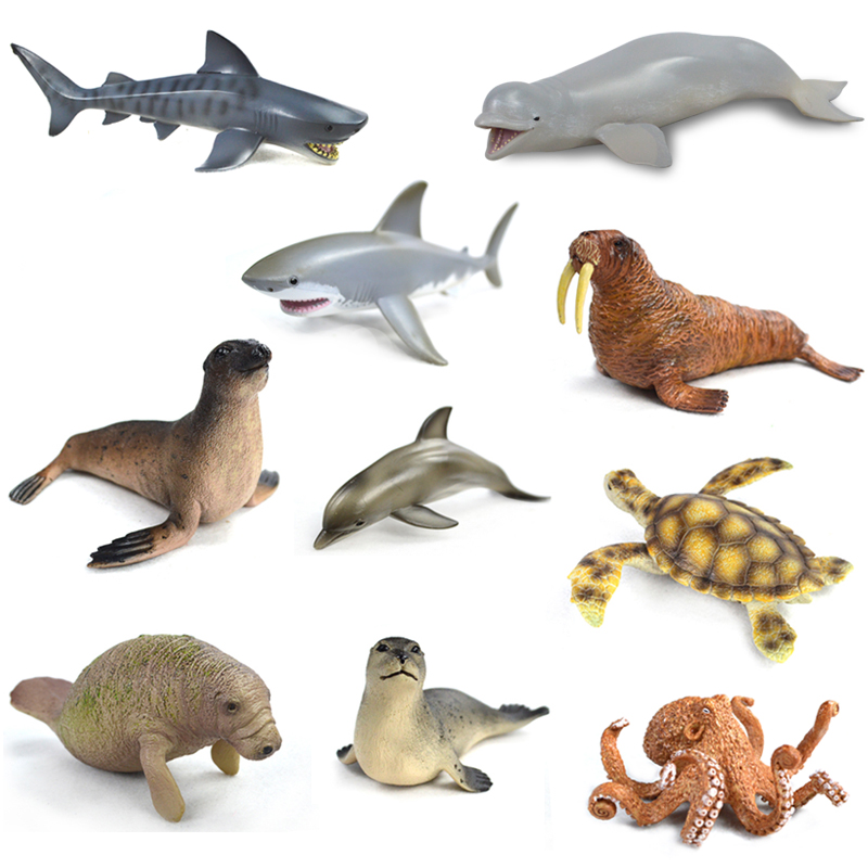 Octopus Marine Animals Model Toy Gift Sea animalWhite whale Modeling Sea Animal toy set Plastic Sea Life figurine hot toys great white shark simulation model marine animals sea animal kids gift educational props carcharodon carcharias jaws