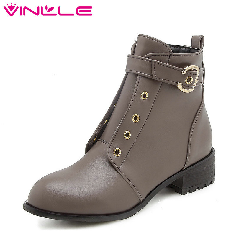 VINLLE 2019 Women Ankle Boots PU Leather Fashion Winter