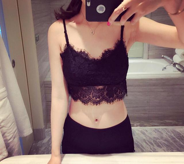 66e3facee6 2018 new brandy melville tops spaghetti strap ladies camisole black white  lace bralette sexy tank top women summer crop top