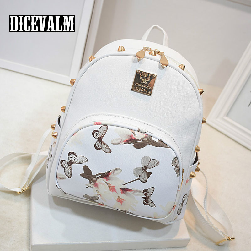 Women Backpack Leather High Quality School Bags Backpacks For Teenage Girls Fashion Printing Floral Bagpack Female Famous Brand school bags for teenage girls canvas printing floral backpacks women high capacity female arcuate shoulder strap zipper bag pack