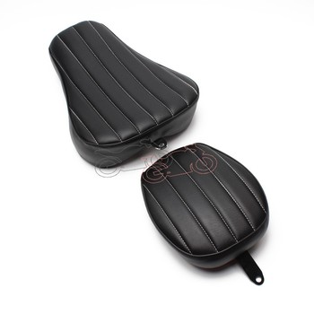 Motorcycle Black Leather Driver+Passenger Two Up Seat Sofa Tour Seat Bench Rear Cushion for Harley Sportster 883 1200 2010-15