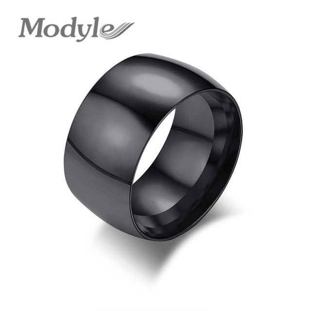 Modyle New Fashion Punk Men S Black Ring Stylish Stainless Steel Wedding Bands Promise Finger