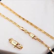 Novo colar 585 cor de ouro feminino jóias clássico topo moda cobre longo 2mm 40-75 cm fino figaro colar para mulher