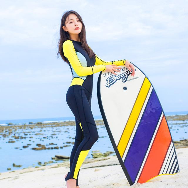 Hisea Women One Piece Close Body Diving Suit Long Sleeve Surfing Scuba Diving Wetsuit Swimsuit Snorkeling Suit Prevent Jellyfish