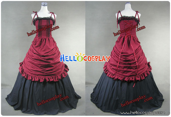Southern Belle Civil War Ball Gown Prom Red Dress H008