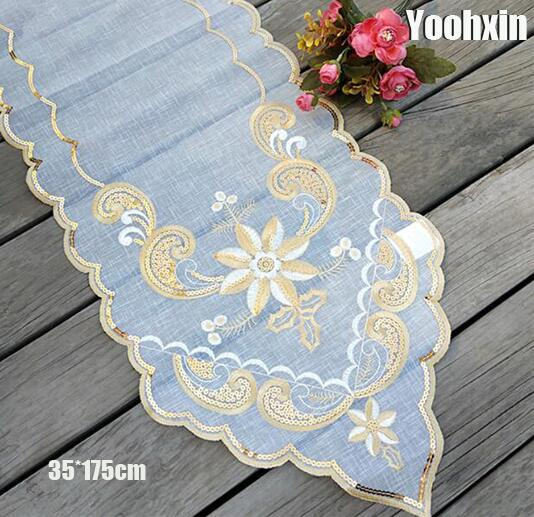 Modern Gold Lace Embroidery Bed Table Runner Cloth Cover Tea Coffee Tablecloth Mantel Nappe Dining Kitchen Party Wedding Decor