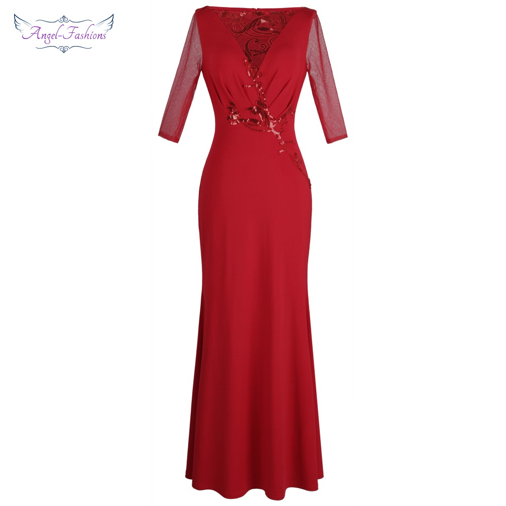 Angel-fashions Women's Long Sleeve Pleat Appliques Pattern Sequin Red   Evening     Dress   W-190113-S 396