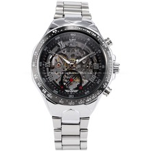Classic Automatic Mechanical Skeleton Tourbillion Stainless Steel Band Black Dial Water Resist Analog Sports Wrist Watch