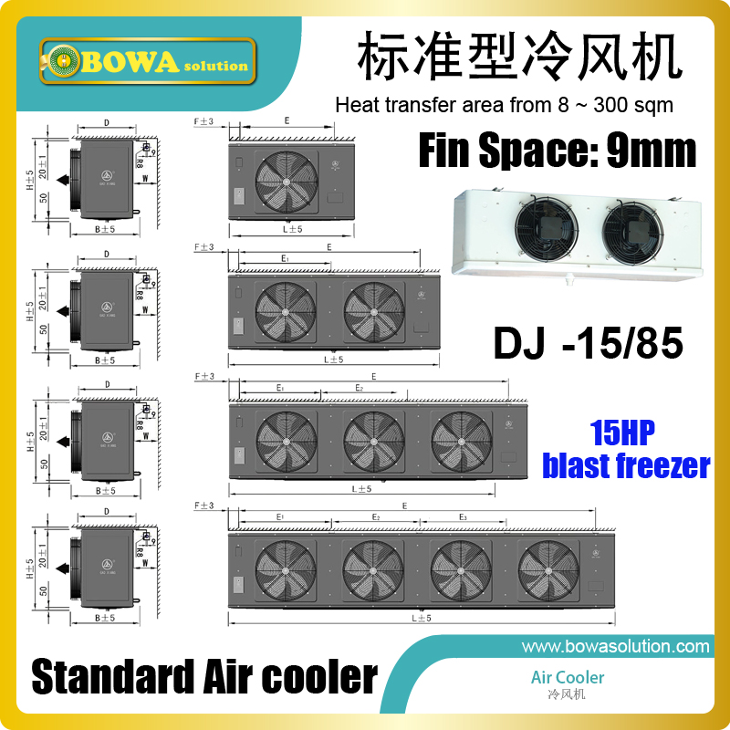 85 sqm LBP air cooler matches 15HP condensing unit with TEV and electric box to consist of freezer equipments for cold storages