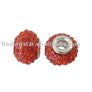 FREE SHIPPING 10PCS Red Rhinestone Bead Charm W/big hole #19751