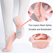Adult Mesh Stretch Fabric Ballet Shoes Women Soft Split Suede Sole Dance Shoes Summer Girls Ballet Slippers