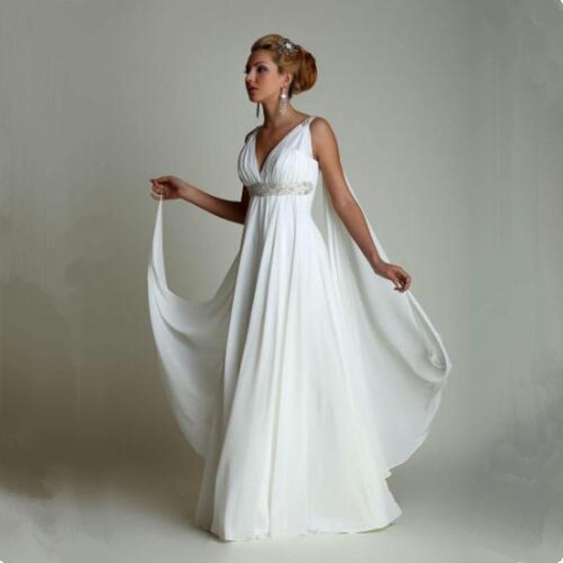 Greek Style Wedding Dresses with Watteau Train 2018 V neck Long ...