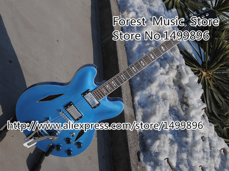 Top Selling Dave Grohl Signature ES 335 Electric Jazz Guitar With Bigsby Matte Blue Finish Guitarra From China Factory top selling emerald green classical chinese jazz electric guitar with bigsby hollow guitar body