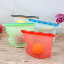 4pcs Reusable Zip Top Silicone Food Containers Stand Up Leakproof Fruits Vegetable Storage Bag Freezer Ziplock Zero Waste(China)