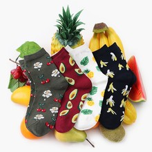 2018 Autumn Korean Women Fresh cute Fruits Socks Lemon Avocado Pineapple Cherry Blueberry Orange Gardenias Banana Flamingos(China)