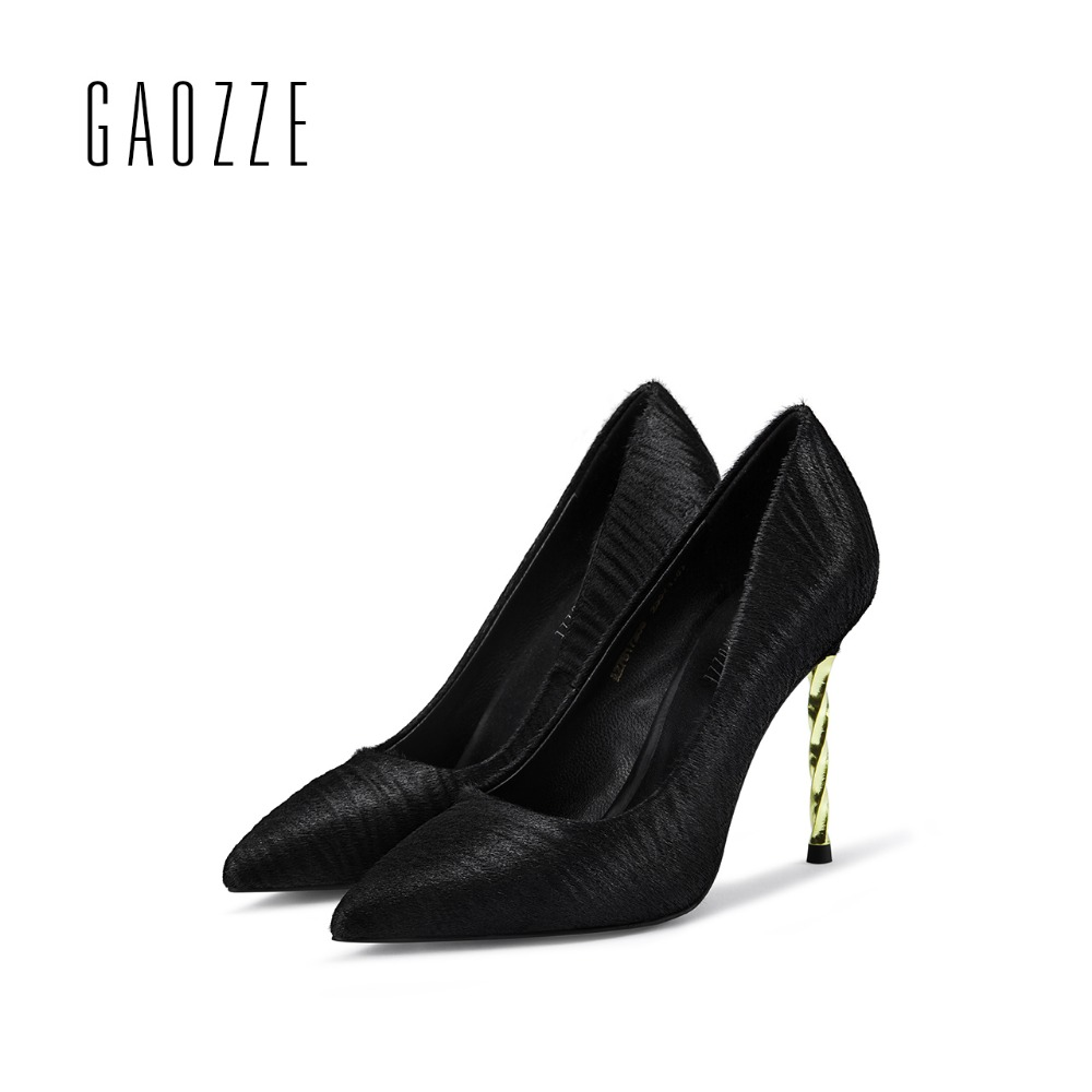GAOZZE 2017 autumn new fashion shallow mouth high heels pump shoes horse hair black female pointed toe sexy high heels shoes black 2016 wine red navy blue cashmere genuine leather round toe shallow mouth ultra high heels female boots female