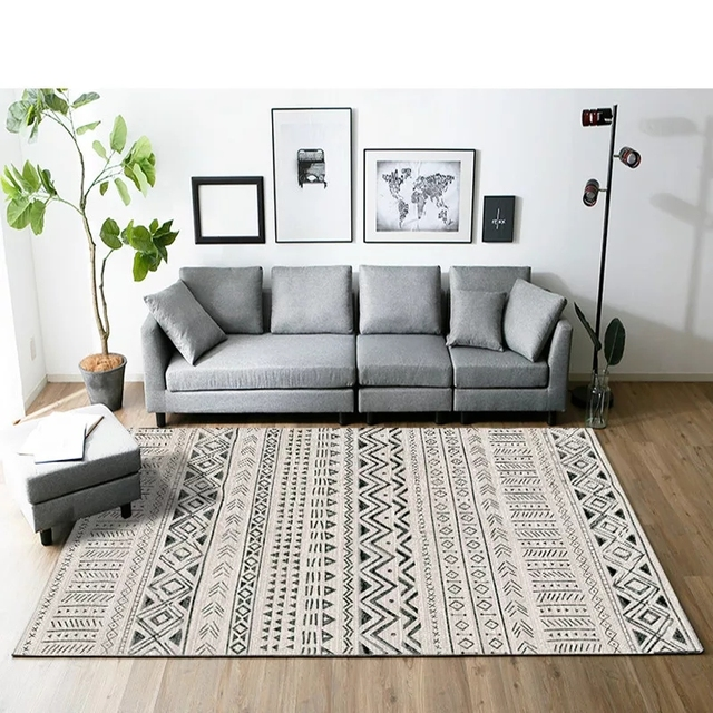 Morocco Style Black And White Geometric Rug Big Size Living Room