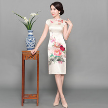 Printed pure silk show thin cheongsam favors  ms only beautiful Chinese style restoring ancient ways