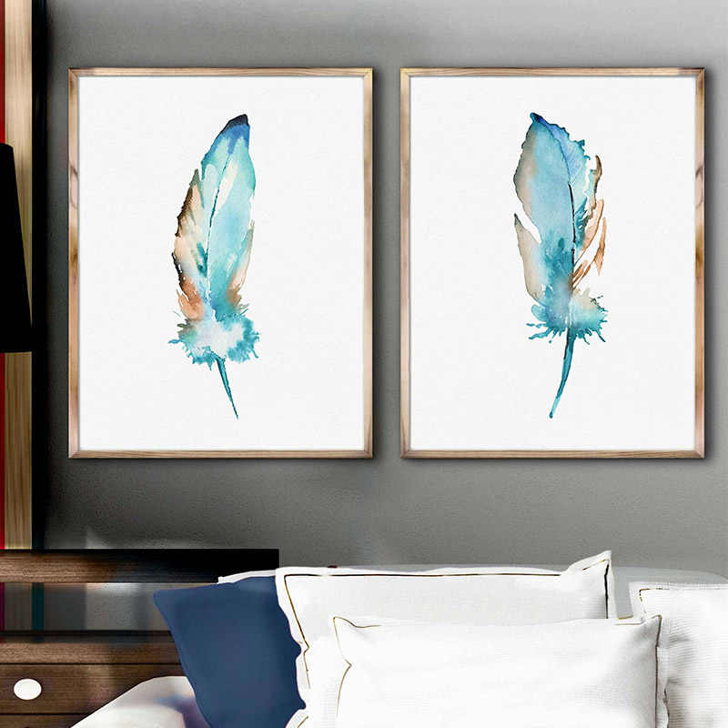 Nordic Watercolor Blue Feather Print Large Minimalist Poster Wall Art Canvas Painting for Bedroom Home Decor Framed