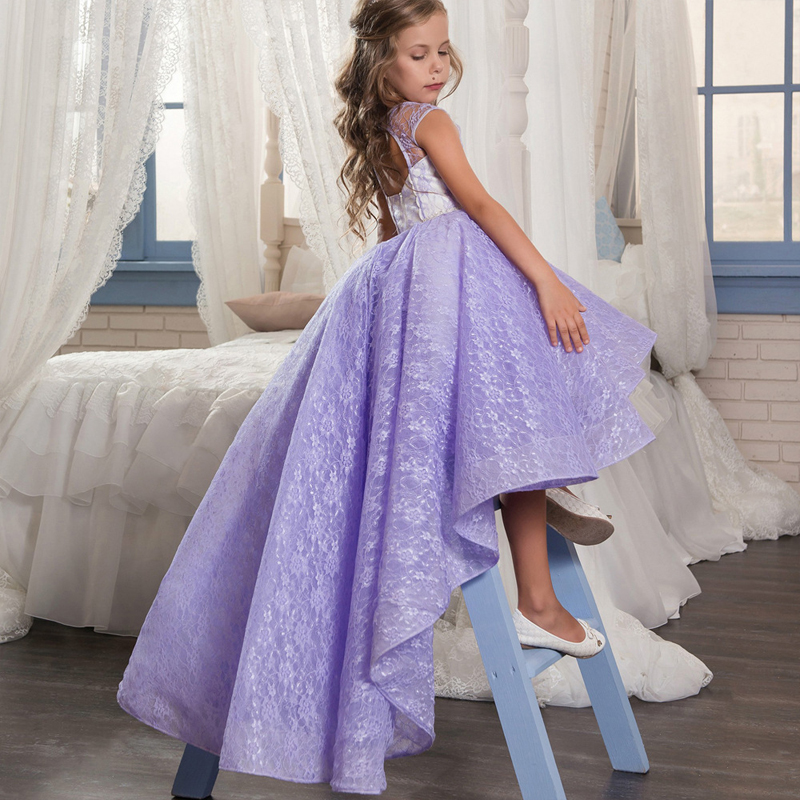 2-13Years Flower Girl Dress Purple Ball Gown Short Front Long Back Princess Dresses Trail Pageant Gowns Evening Party Dress E303 floral flower printed ball gowns with belt 2016 summer o neck short sleeve princess dress for party frocks evening prom dress