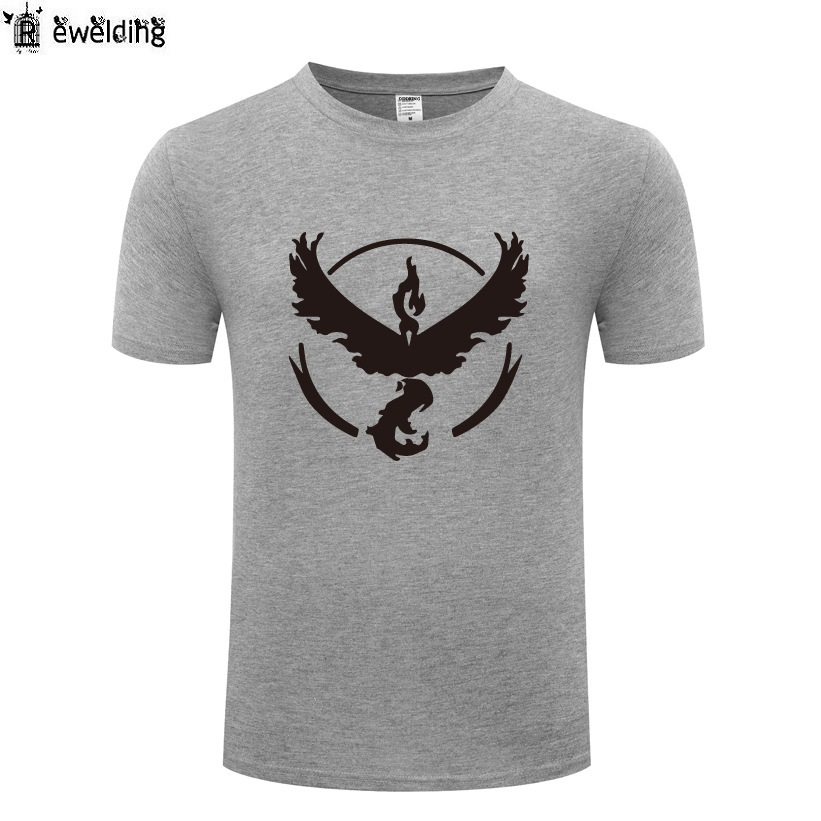 Game Pokemon Go Team Valor Team Printed Men T Shirt Summer T Shirts Men Cotton Short Sleeve Tshirt Streetwear Tee Shirt Homme