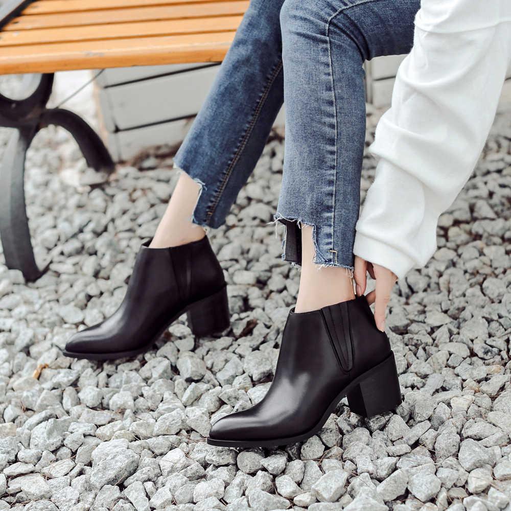 Donna-in 2016 bahar tek çizmeler sivri burun, kalın topuk ayak bileği çizmeler bayanlar kısa çizmeler kadın deri çizmeler