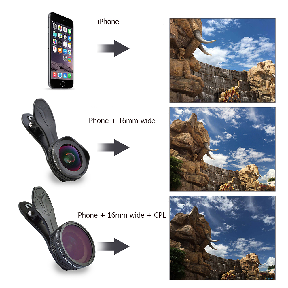 Image 5 - APEXEL Pro Camera Lens Kit 16mm 4k Wide Angle Lens with CPL Filter Universal HD Mobile Phone Lens for iPhone 7 6S Plus Xiaomi-in Mobile Phone Lens from Cellphones & Telecommunications