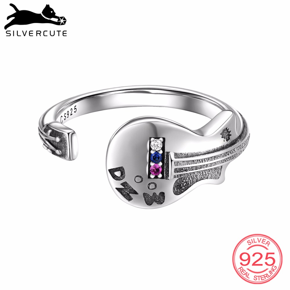 SILVERCUTE Adjustable Guitar Ring For Women 925 Sterling Silver Open Finger Rings Hip Hop Music Guitarist Fine Jewelry SCR6516G