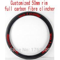 1Pcs New Customized 700C 50mm Clincher Rim Road Bicycle 3K UD 12K Full Carbon Fibre Bike