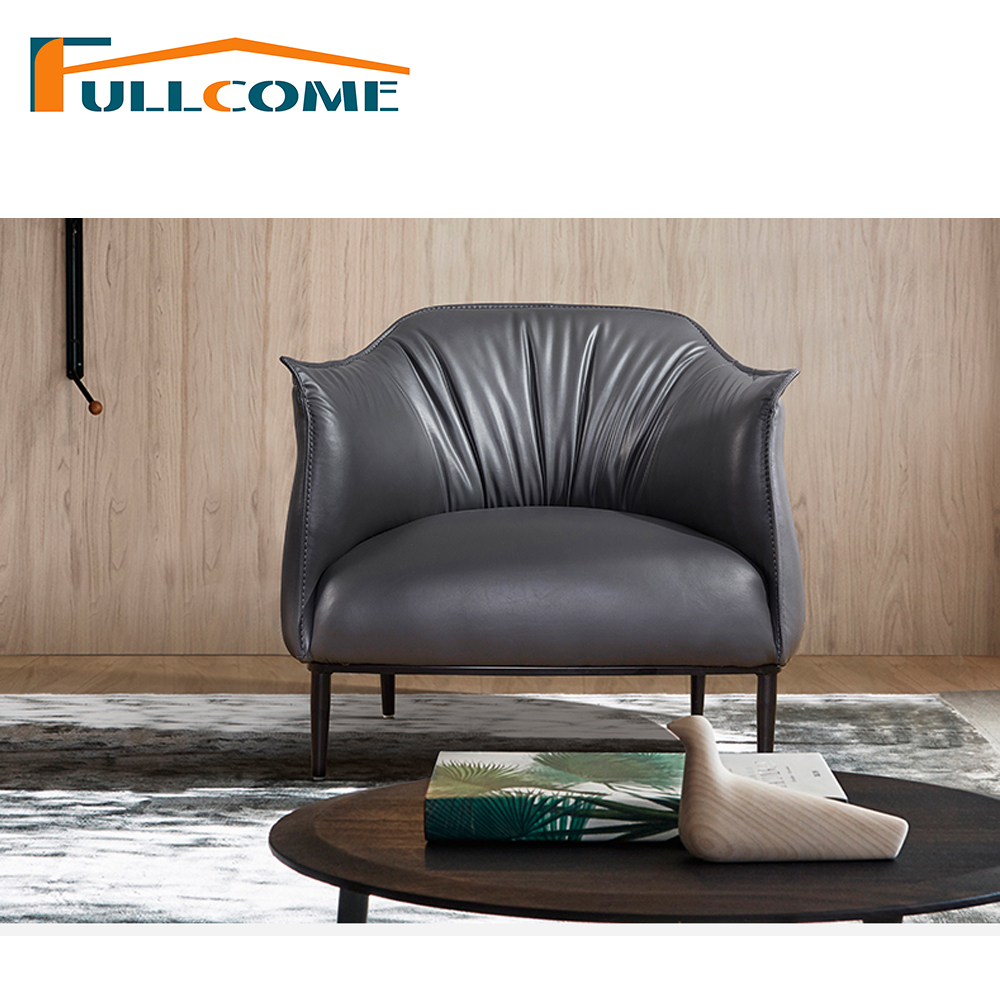 China luxury home furniture modern leather scandinavian sofa chair living room furniture single chair leather leisure chair