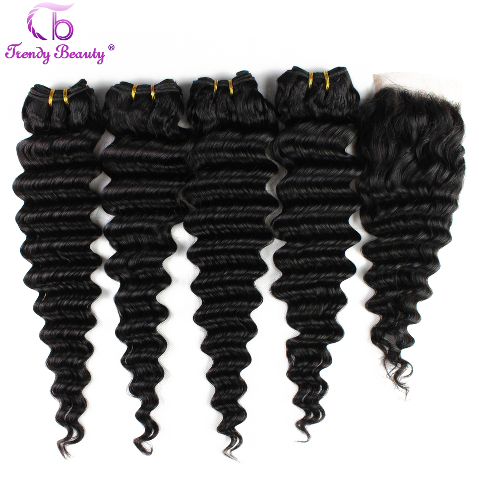 Trendy Beauty Brazilian Deep Wave 4 Bundles With Closure Human Hair Bundles With Closure Natural Black Color Non-remy 5 Pcs