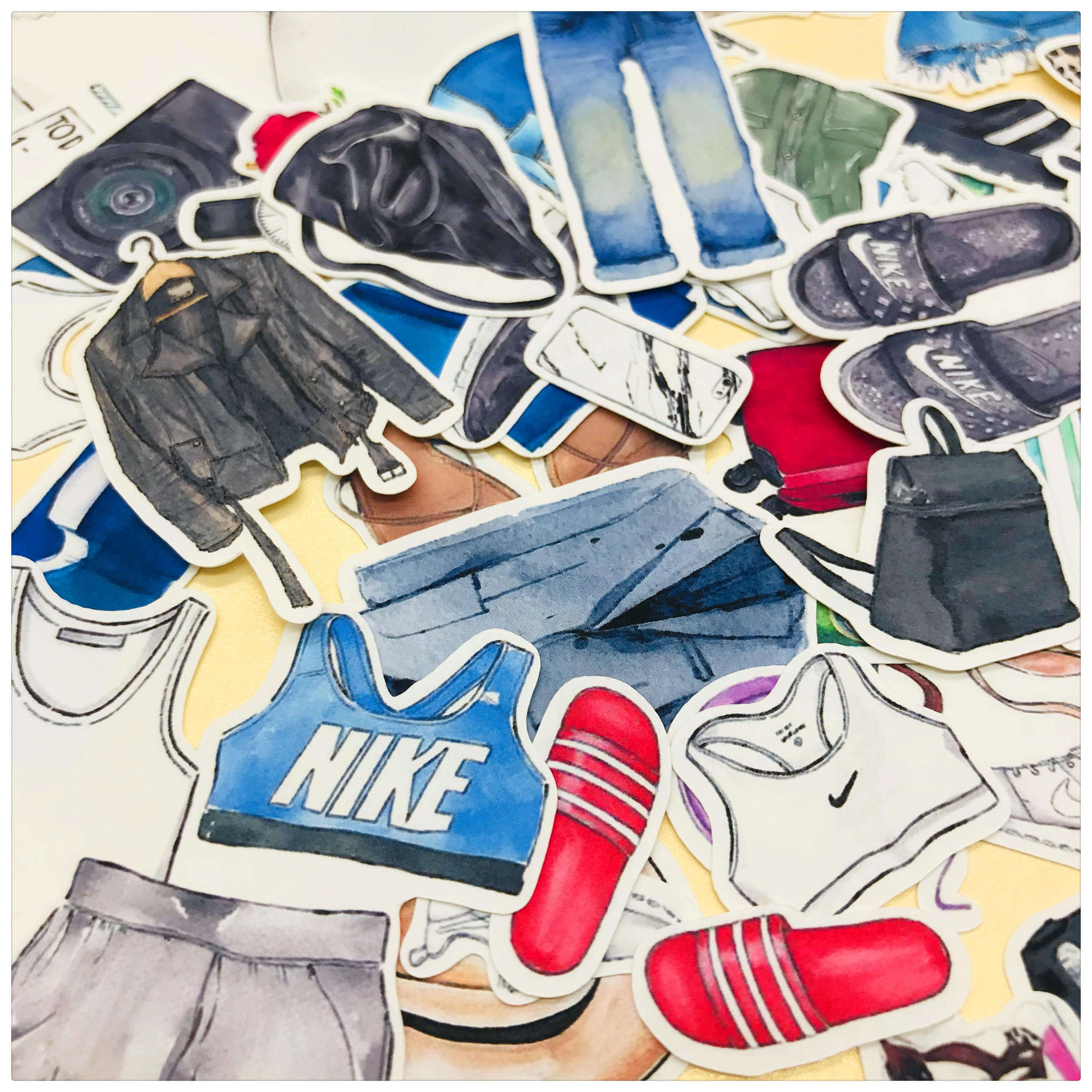 45pcs Clothing Shirt Pants Shoes And Glasses Decoration Stationery Sticker Diy Diary Scrapbooking Label Sticker Stationery