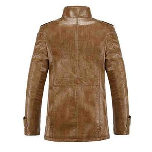 Image 2 - 2019 Plus Size 7xl 8xl Winter New Mens  Velvet Leather Jacket Stand Collar PU Leather Coat Male Loose Brand Clothing