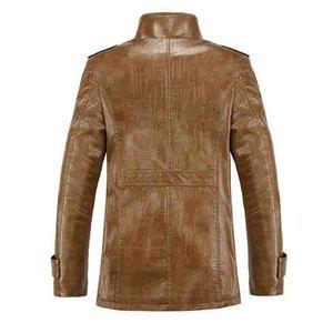 Image 2 - 2019 plus size 7xl 8xl inverno nova jaqueta de couro de veludo dos homens gola casaco de couro do plutônio masculino solto marca roupas