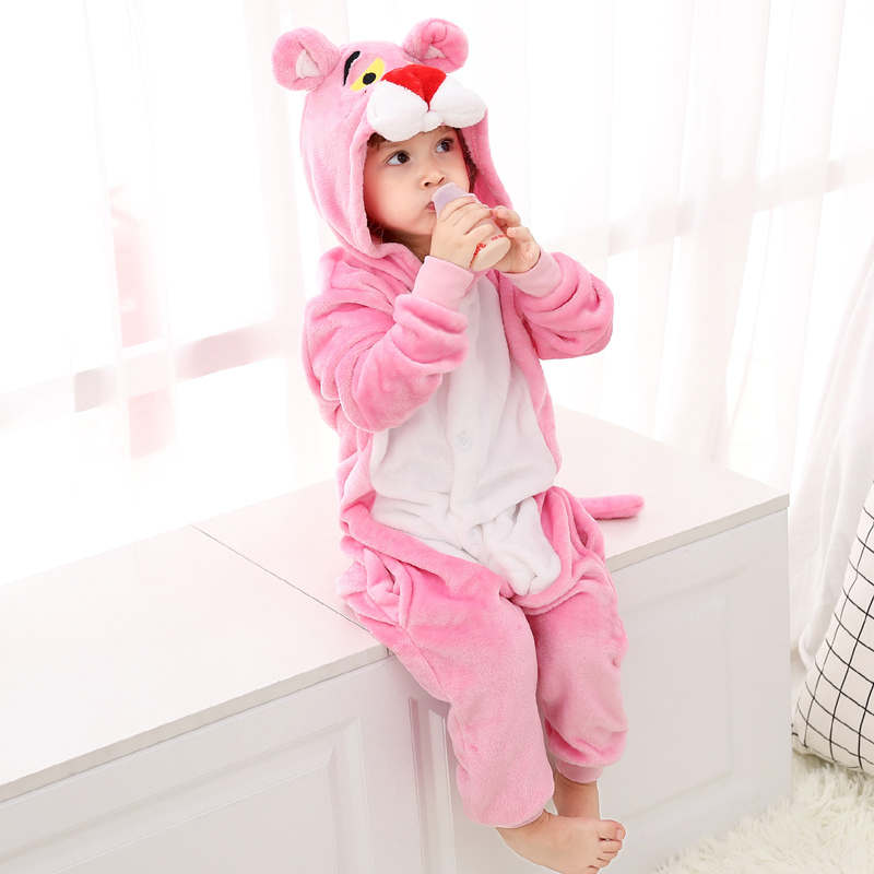 Funny Pink Panther Onesie Kids Kigurumi Pajamas Baby One-Piece Cartoon Animal Pyjamas Cosplay Children Jumpsuit Winter Sleepwear (3)