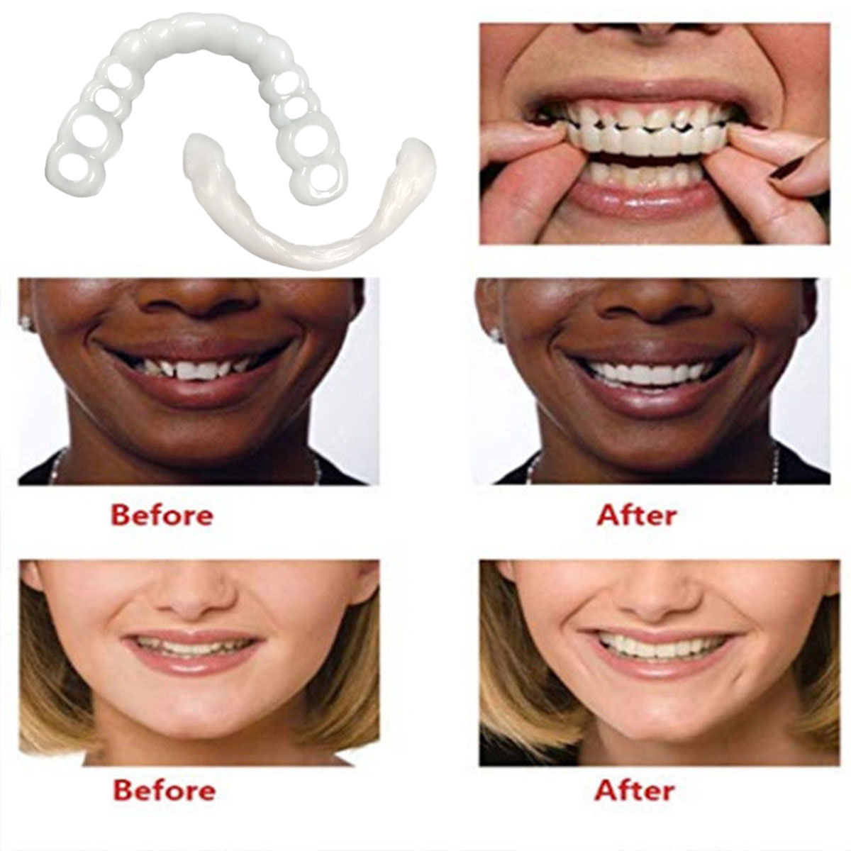 New Denture Care False Dental Tooth For Upper Teeth Whitening Dental Snap On Smile Instant Smile One Size Fits Most Comfortabl