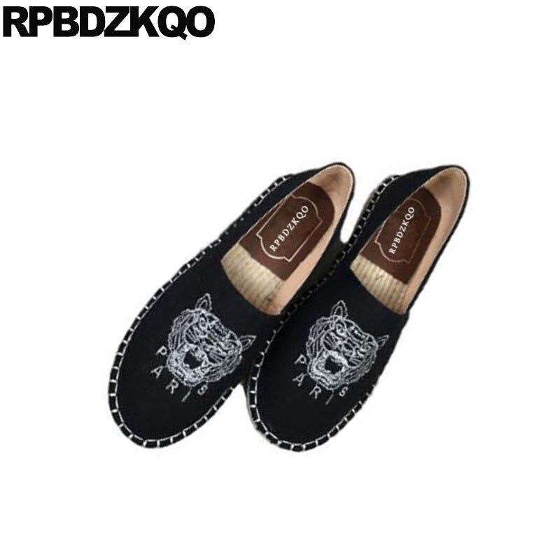 Boutique en ligne 8f289 3853e € 31.03 36% de DESCUENTO|Deslizamiento en las mujeres baratos zapatos de  lona alpargatas chino bordado China cáñamo pisos impresión Animal redonda  ...