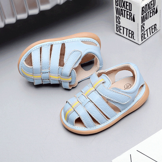 120deddc6 Genuine Leather Shoes Kids Sandals Soft Shoes sandal leather boy toddler  Sound shoes Summer Sandals Free Shipping