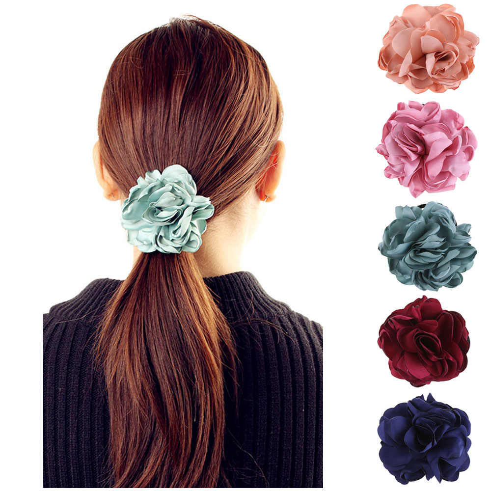 1Pc 2019 New Fashion Elegant Women Hair Band Rope Elastic Rose Flower Ponytail  Holder Scrunchie Party Hair Accessories