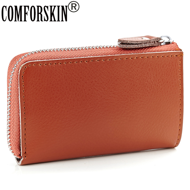 COMFORSKIN Brand New Arrivals Key Holder Card Case Women s Split Leather  Car Key Wallets Housekeeper Holders 2b46b3132a