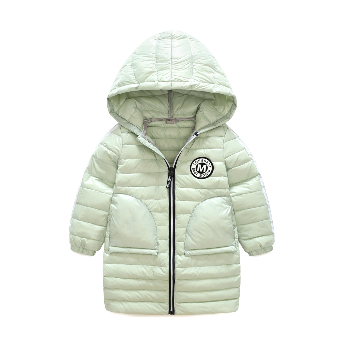 White Down Jacket Girls Small Children Warm Winter New Sleek Hooded Jacket In The Long Section of The Baby Thin Down Jacket Girl olgitum women s winter warm in the long section of slim was thin winter clothes tops down jacket big hair collar cc056