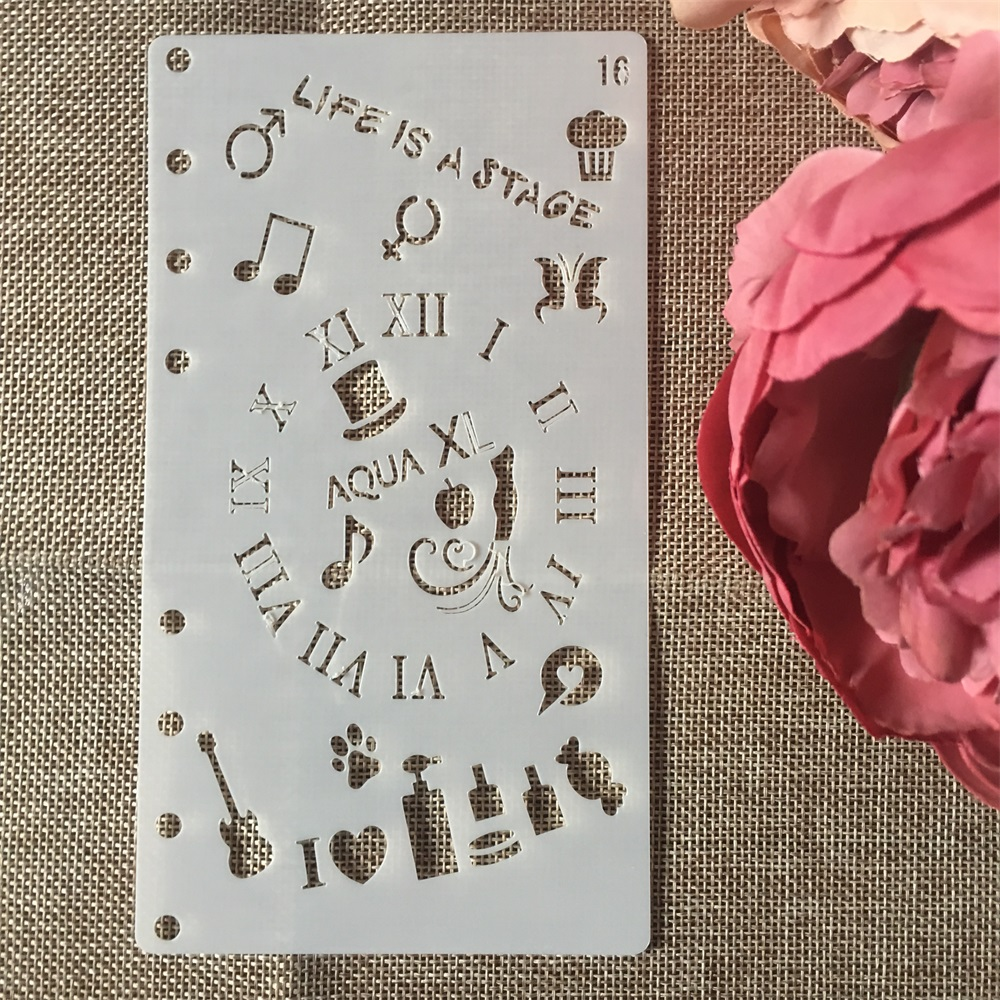 1Pcs A6 Music Note Clock DIY Craft Layering Stencils Wall Painting Scrapbooking Stamping Embossing Album Paper Card Template
