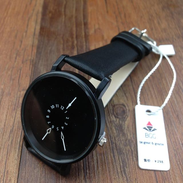 Hot fashion creative watches women men quartz-watch BGG brand unique dial design minimalist lovers' watch leather wristwatches 5