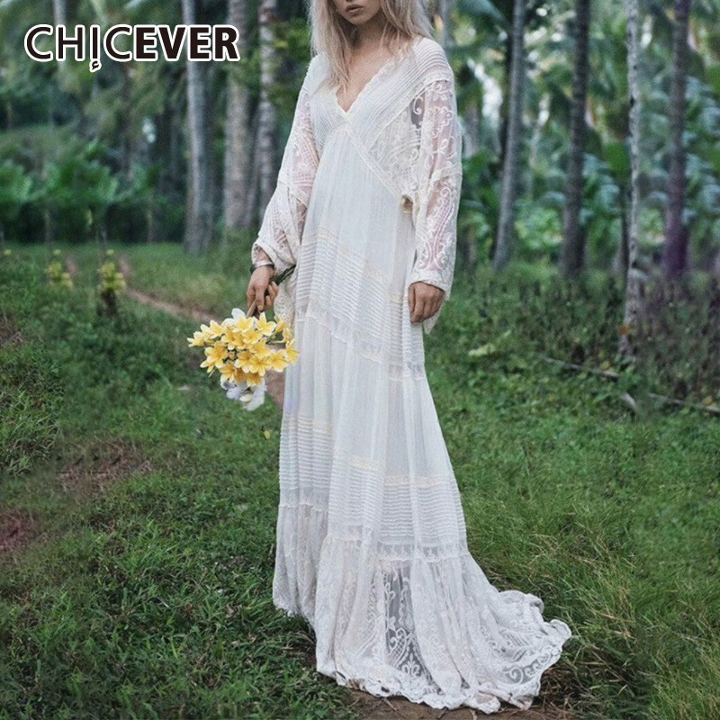 CHICEVER Summer Elegant Lace Embroidery Dress For Women V Neck Flare Sleeve Loose A-line Floor Length The Dresses 2020 Fashion