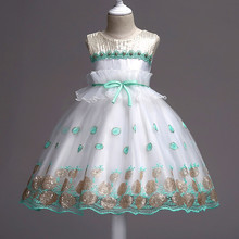 2019 New Fashion Summer Girls Dress Princess Party Kids Dresses For Girls Carnival Costume Kids Wedding Sequined Dress 2-12 Year 2017 new summer style 2 15 year princess dress for girls flower lace baby dresses kids sleevelesss flora costume teenagers dress